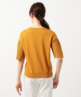 自由区 L 【マガジン掲載】コットンアセテート レースパターンニット(検索番号H42) オレンジ