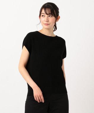 23区 【洗える】ドライコットンブレンドニット ブラック系