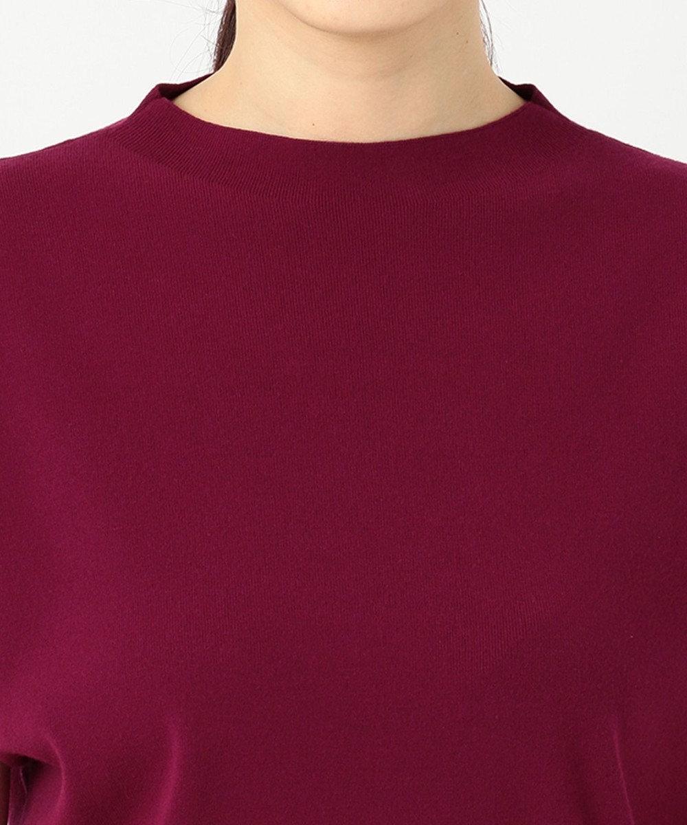 23区 【洗える】ヴィスコースストレッチ 半袖ニット ローズ系