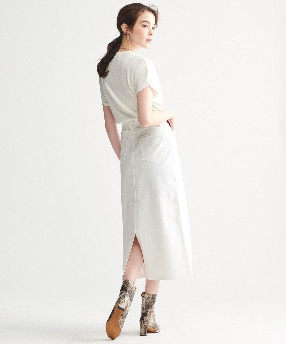 23区 【洗える】ヴィスコースストレッチ 半袖ニット オフ系