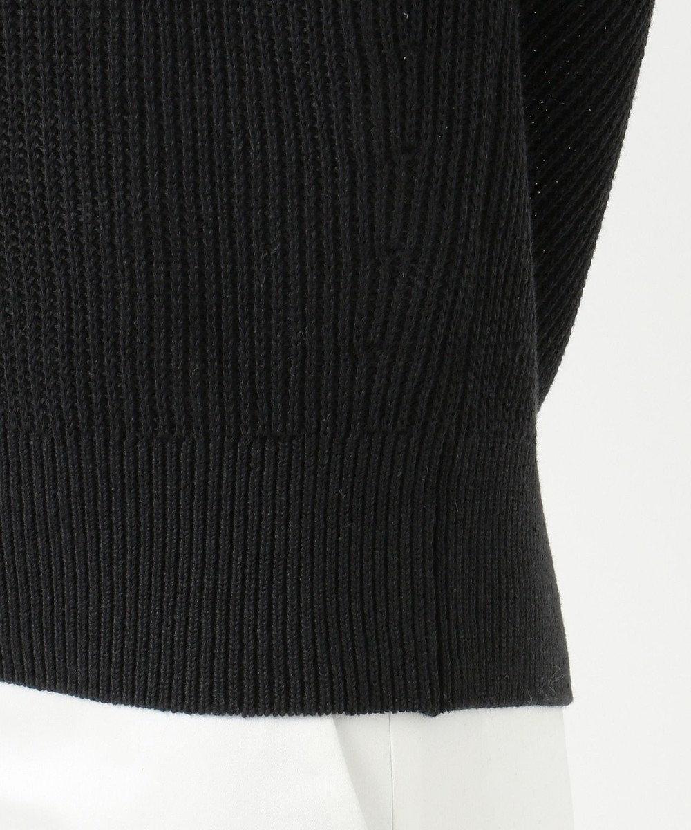 23区 【洗える】リネンコットン片畦Vネックニット ブラック系