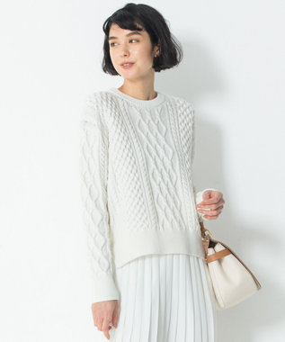 23区 【洗える】コットンブレンドコード アラン ニット ホワイト系