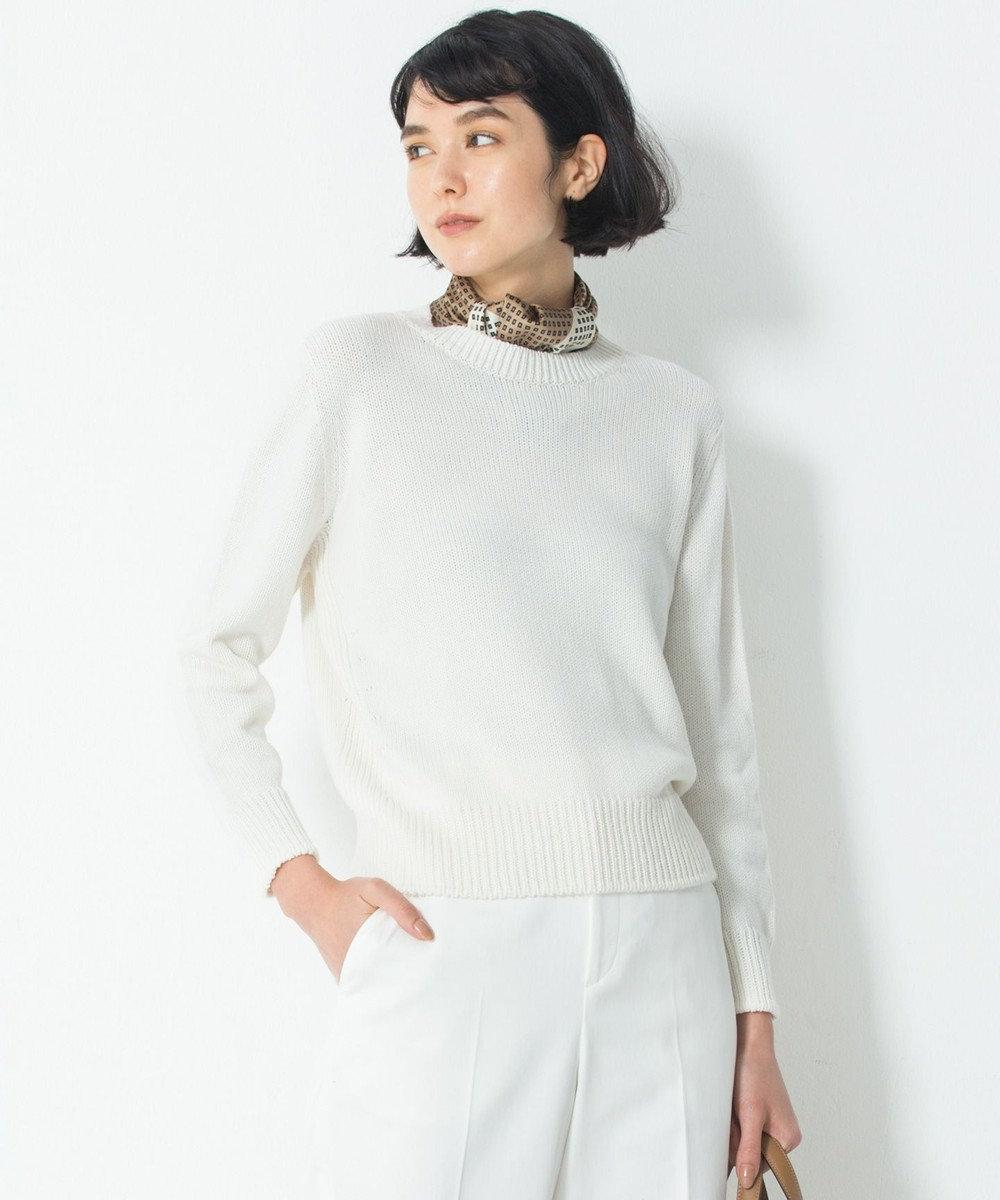 23区 S 【洗える】コットンブレンドコード ニット ホワイト系