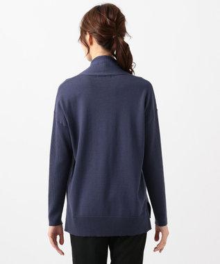 23区 L 【洗える】ウーステッドウール 重ね襟ニット(検索番号H76) ブルー系