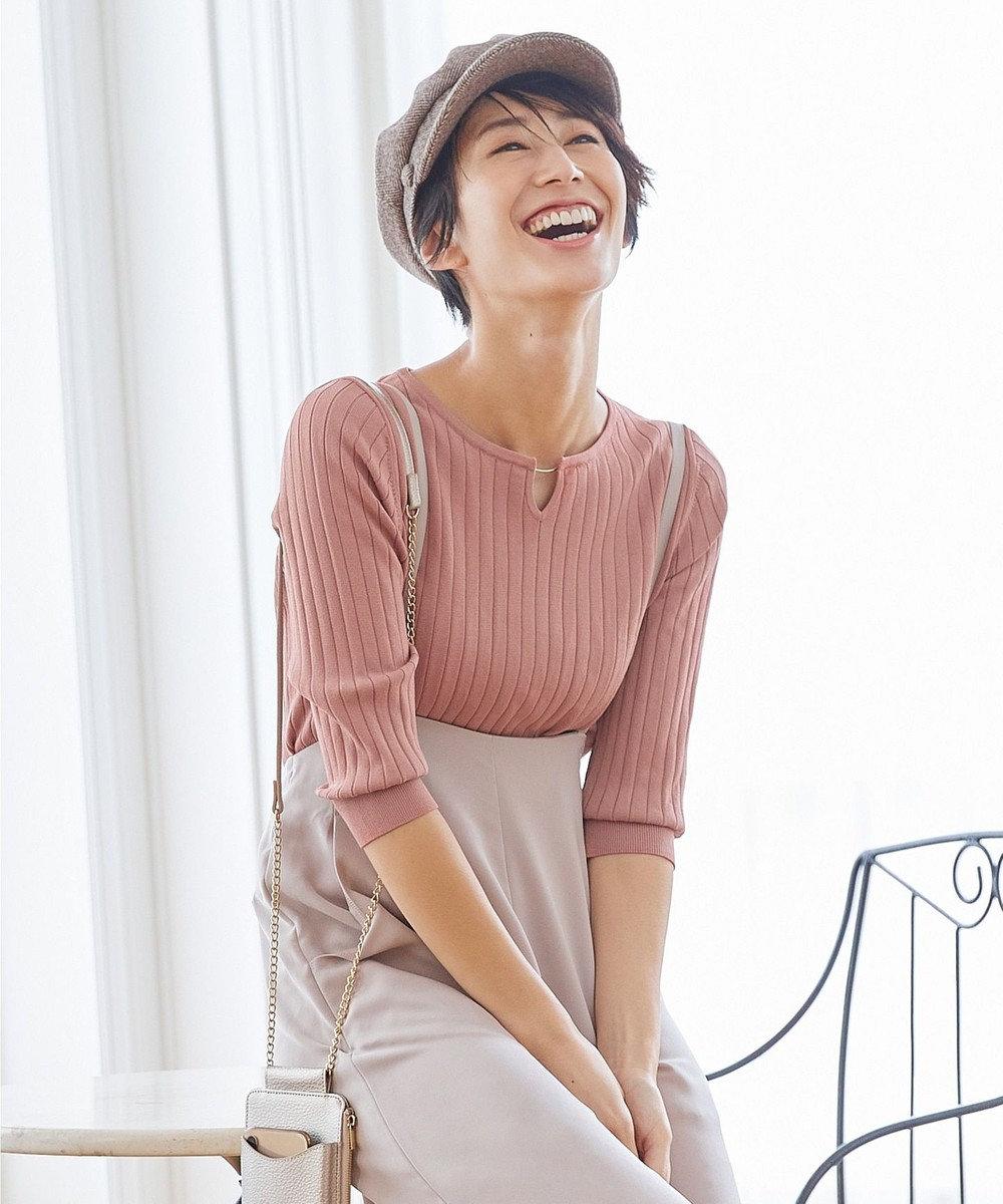 any SiS L 【洗える】メタルパーツRIB ニット ピンク系