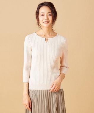 any SiS L 【洗える】メタルパーツRIB ニット ベージュ系
