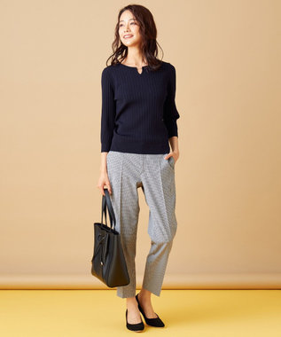 any SiS L 【洗える】メタルパーツRIB ニット ネイビー系