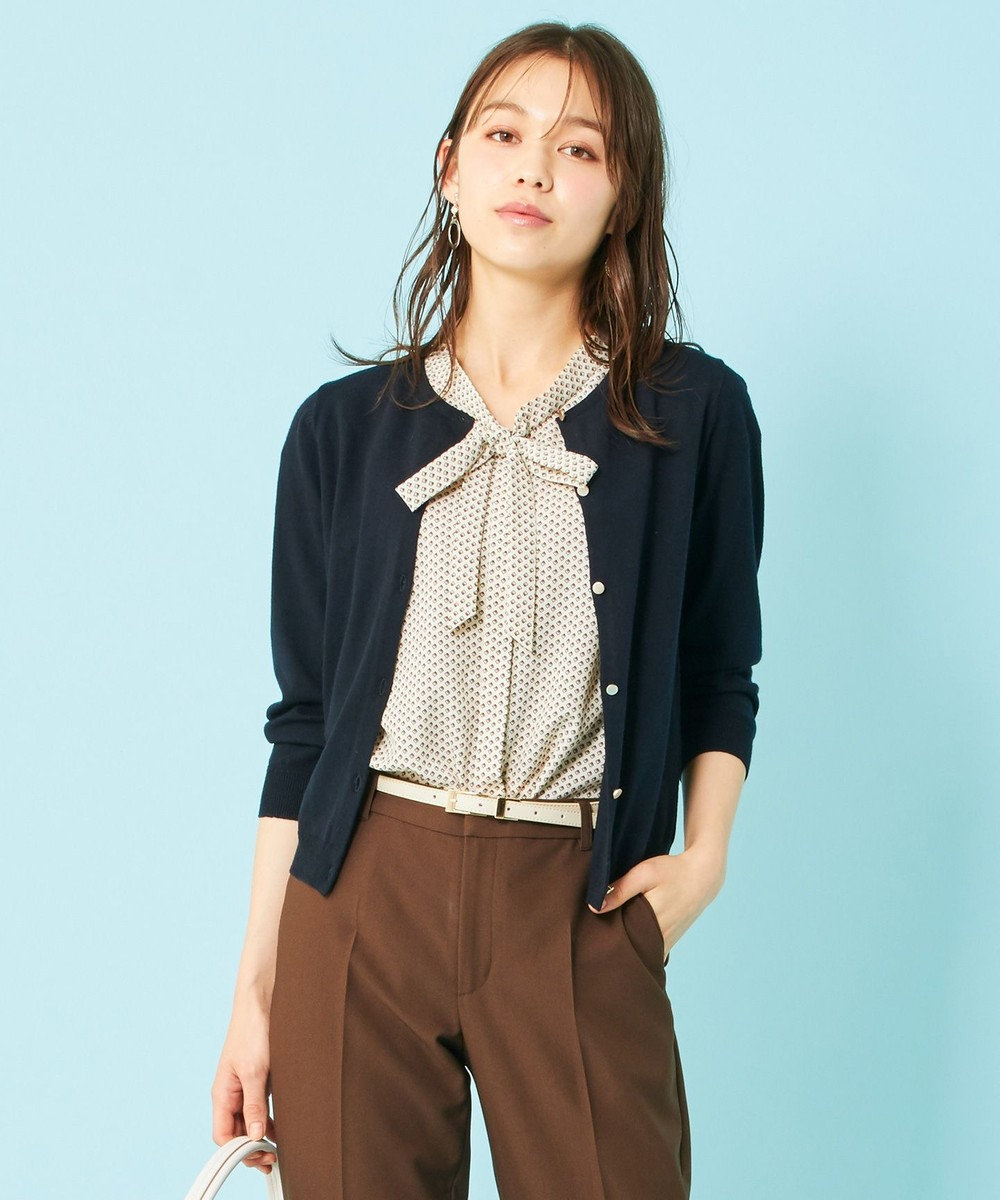 any SiS L 【UVケア】シンプルニット カーデ ネイビー
