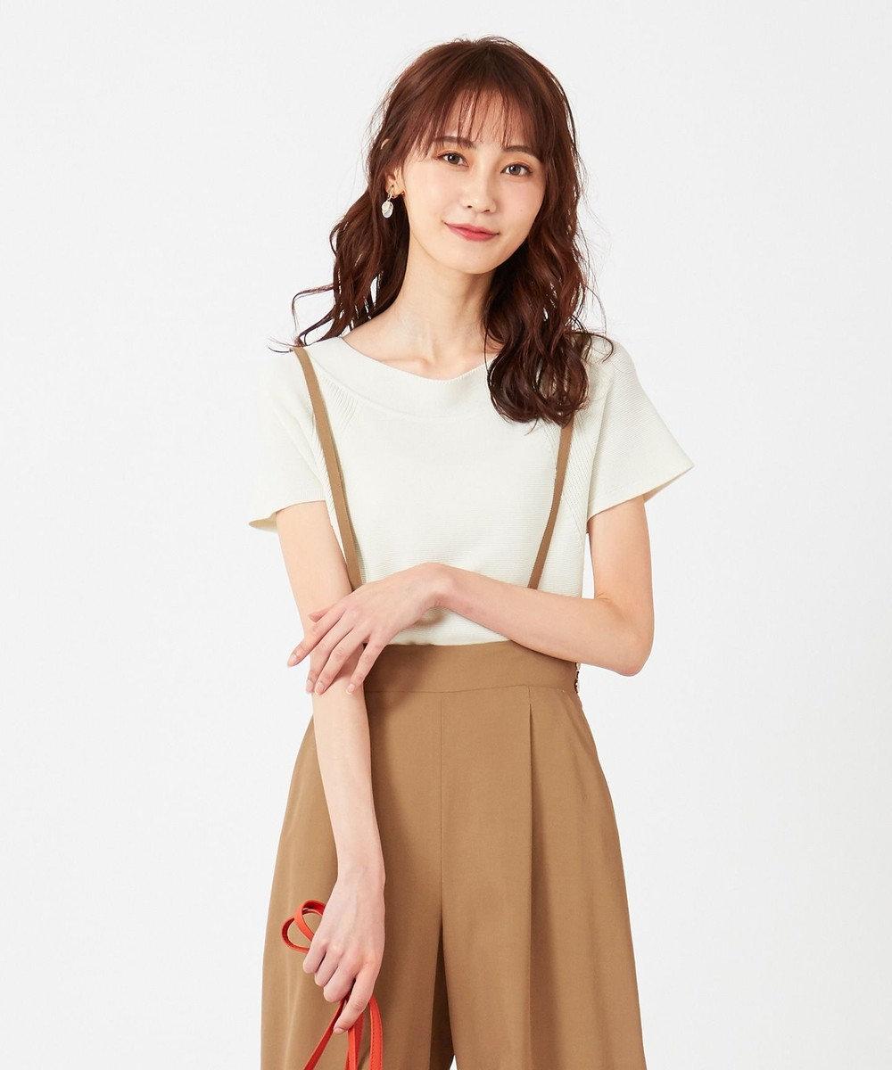 any SiS 【難波蘭さん監修】パーソナルカラーフレンチスリーブT ニット オフホワイト