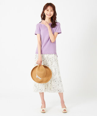 any SiS 【難波蘭さん監修】パーソナルカラーフレンチスリーブT ニット スイートバイオレット