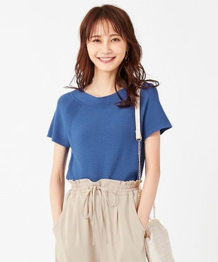 any SiS 【難波蘭さん監修】パーソナルカラーフレンチスリーブT ニット ロイヤルブルー