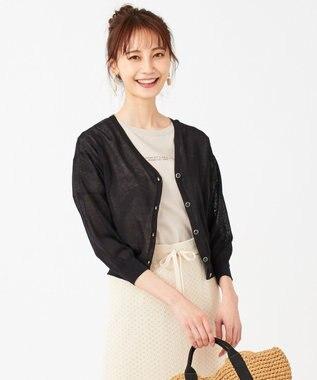 any SiS 【洗える】シアー カーディガン ブラック