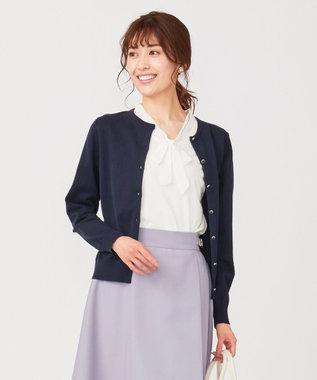 any SiS S 【洗える】イタリーヤーン カーディガン ネイビー