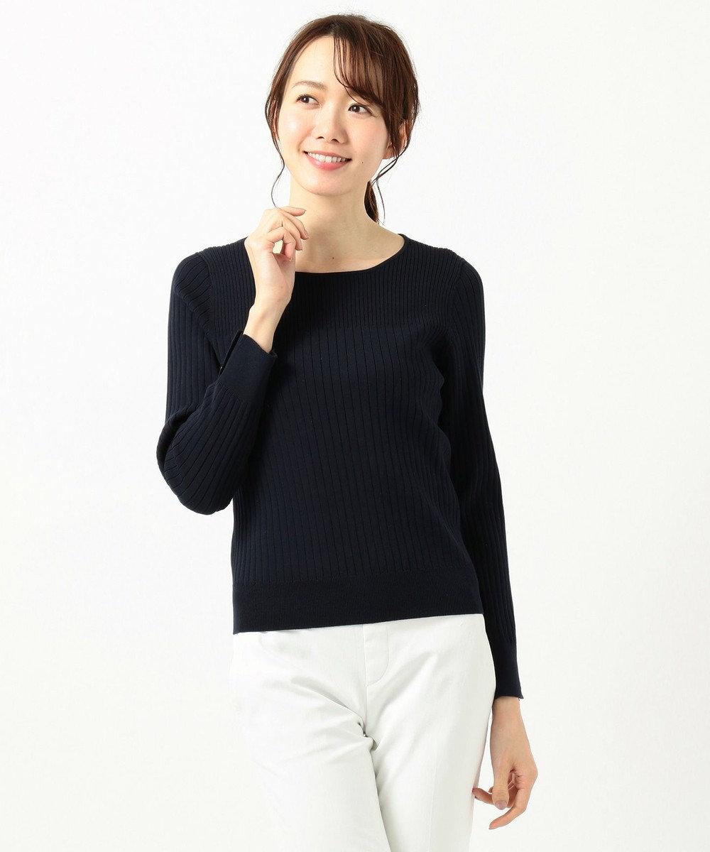 any SiS L 【洗える】イタリーヤーン クルーネック ニット ネイビー