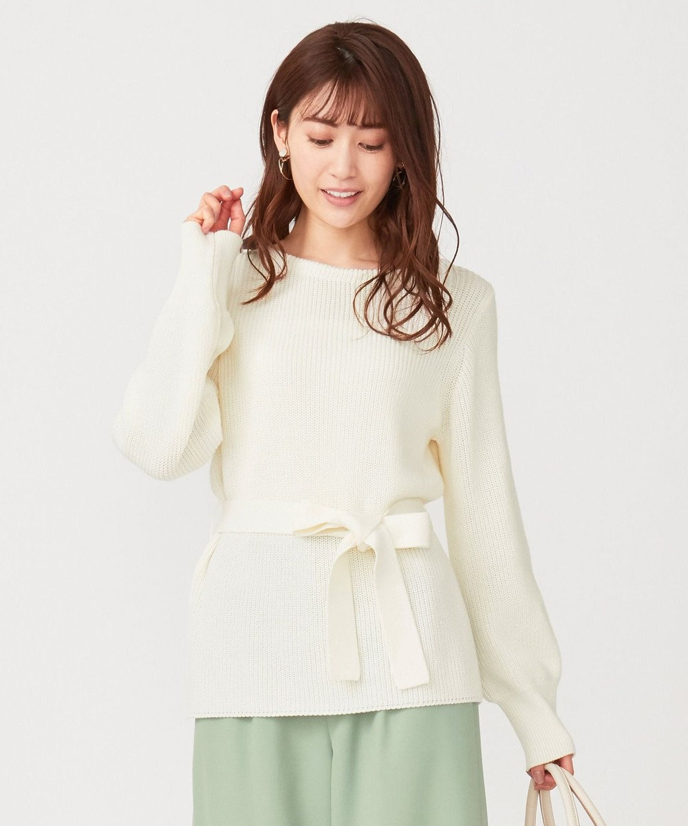 any SiS 【洗える】ベルテッド ニット オフホワイト