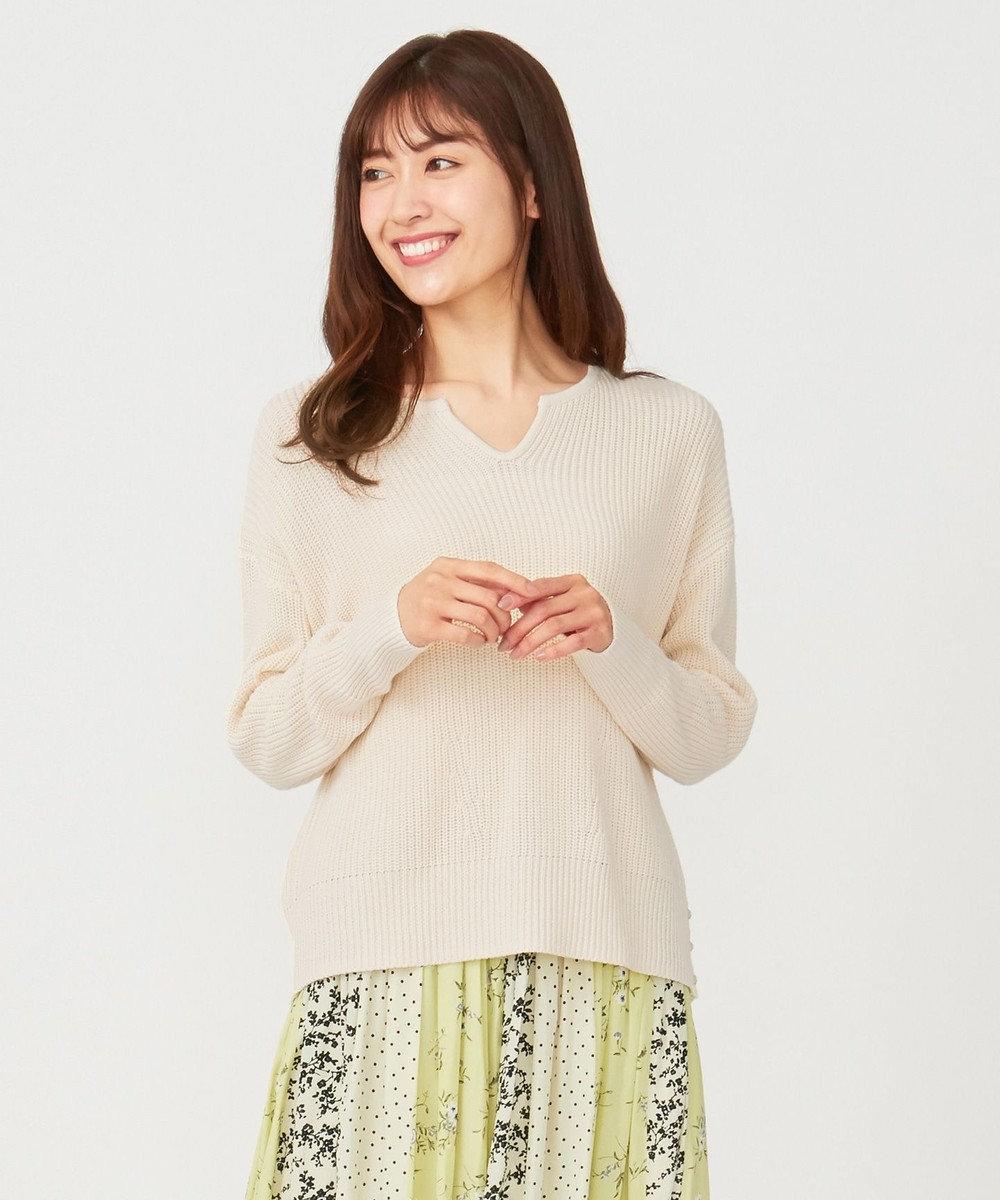 any SiS 【美人百花3月号掲載】片畦キーネック ニット オフホワイト