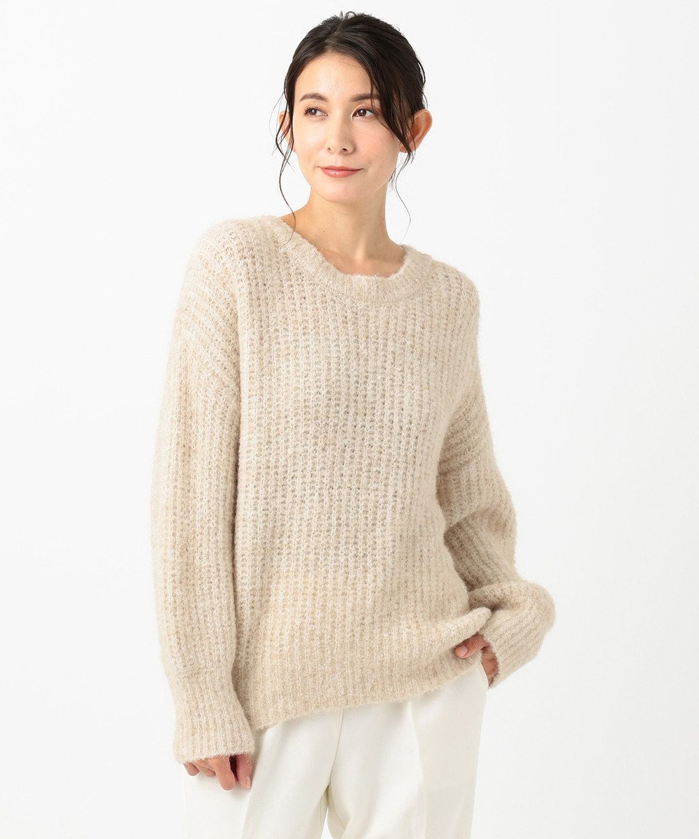 any SiS L 【洗える】イタリーブークレヤーン ニット ベージュ系