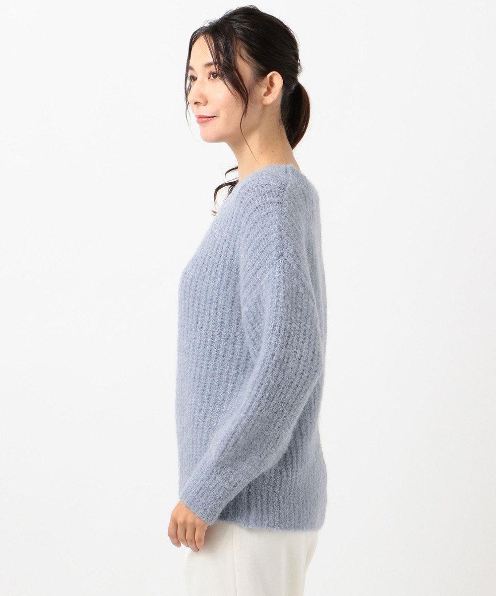 any SiS L 【洗える】イタリーブークレヤーン ニット スカイブルー系