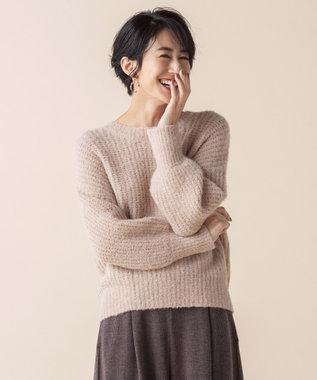 any SiS L 【洗える】イタリーブークレヤーン ニット ピンク系