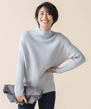 any SiS L 【洗える】スリットポイントニュアンス ニット ブルーグレー