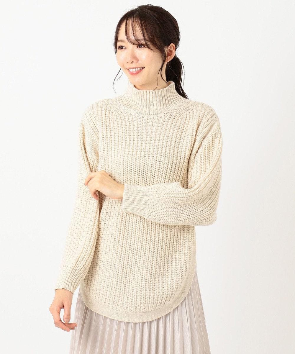 any SiS L 【洗える】ハイネックオーバー ニット アイボリー