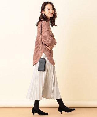 any SiS L 【洗える】ハイネックオーバー ニット アンティークピンク