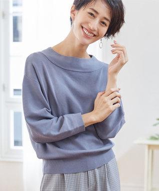 any SiS 【WEB限定色あり】カラーパフスリーブ ニット スモーキーブルー