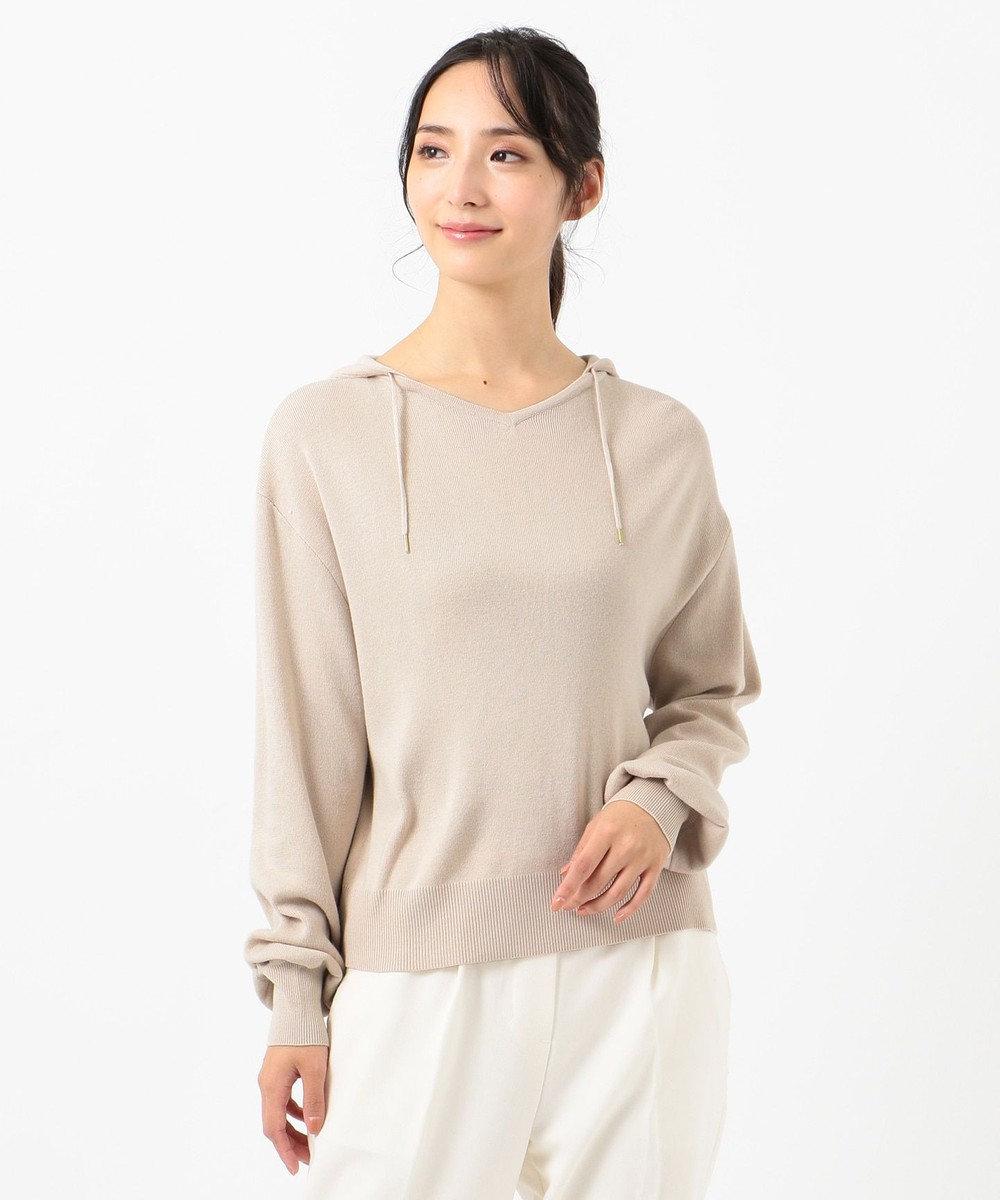 any SiS L 【洗える】ニット パーカー アイボリーベージュ