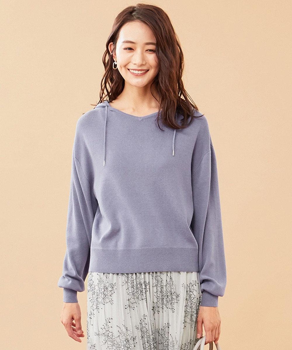any SiS L 【洗える】ニット パーカー スモーキーブルー
