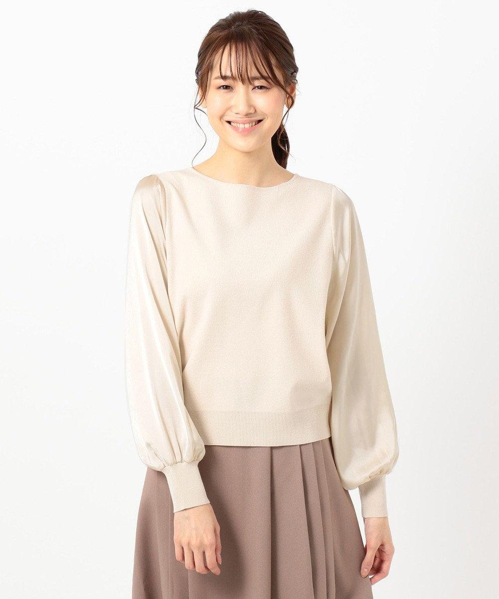 any SiS 【洗える】スリーブサテン ニット アイボリーベージュ