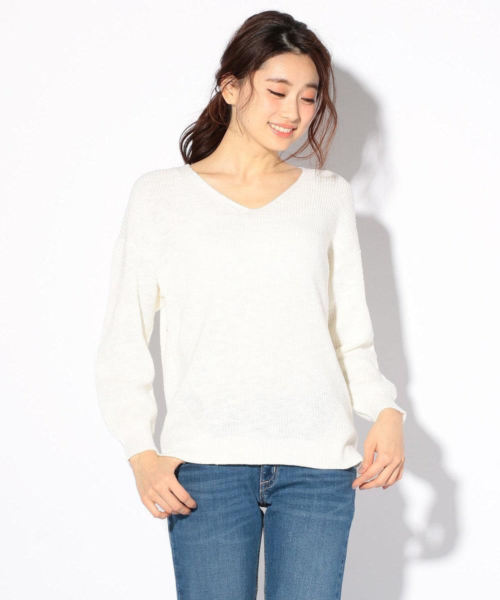 any SiS 【洗える】コットンスラブ ニット ホワイト系