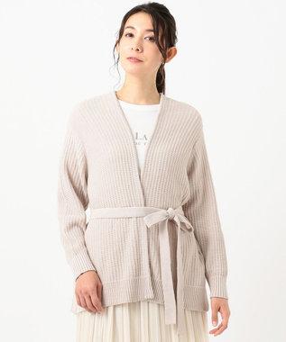 any SiS L 【洗える】タックスプリング カーディガン アイボリーベージュ