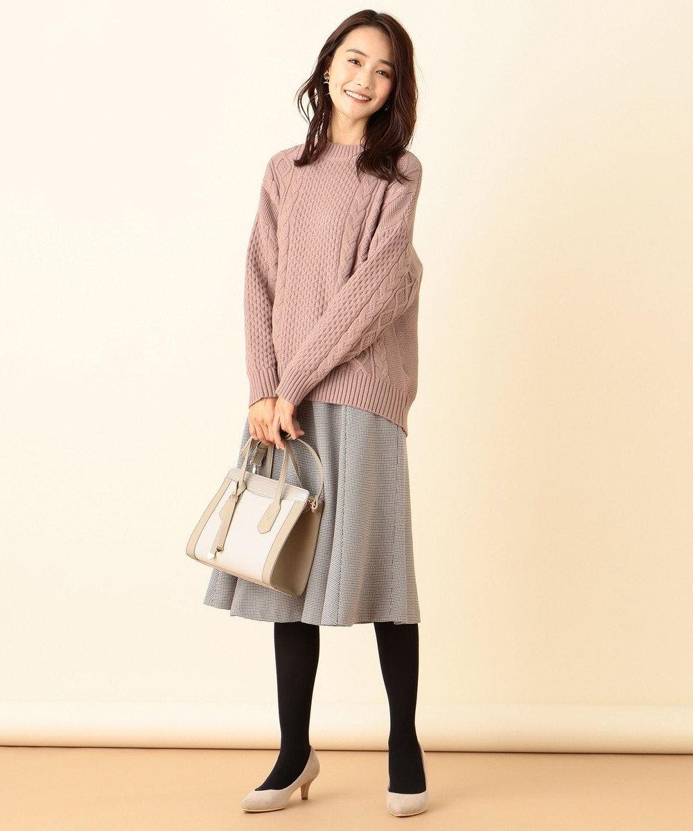 any SiS L 【洗える】ボトルネックコクーンケーブル ニット アンティークピンク