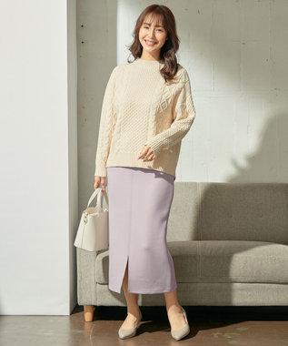 any SiS L 【洗える】ボトルネックコクーンケーブル ニット アイボリー