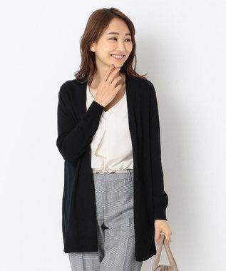 any SiS S 【洗える】バックプリーツコンビ カーディガン ネイビー系