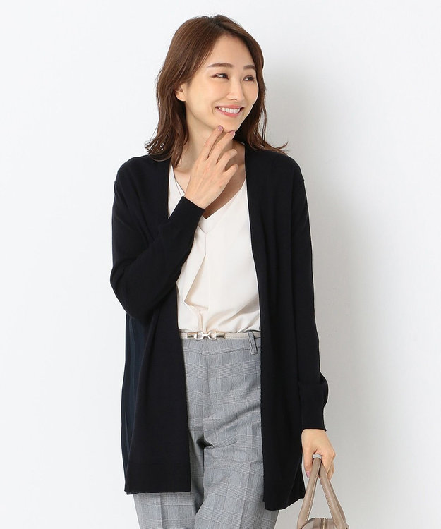 any SiS S 【洗える】バックプリーツコンビ カーディガン