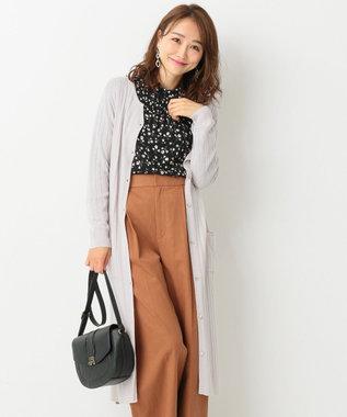 any SiS L 【洗える】イタリーヤーン ロングカーデ グレージュ