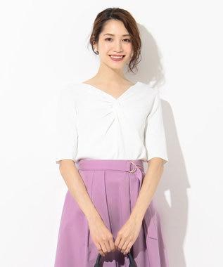 any SiS 【洗える】フロントツイスト ニット ホワイト系