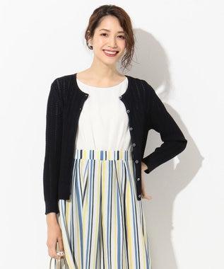 any SiS 【UVケア】レーシー カーディガン ネイビー系