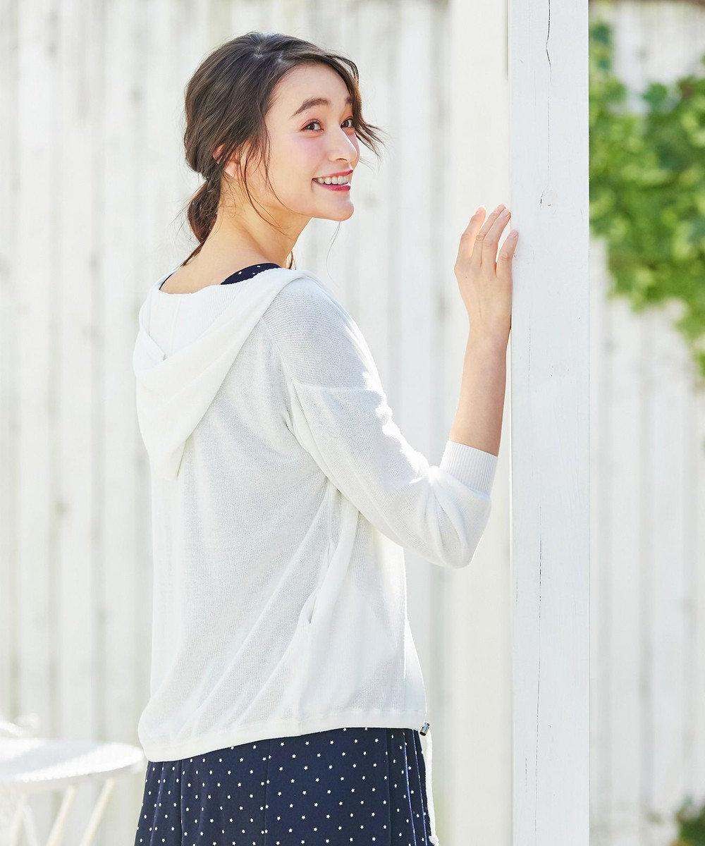 any SiS L 【UVケア】L'aube ウォッシャブルニット パーカー ホワイト系