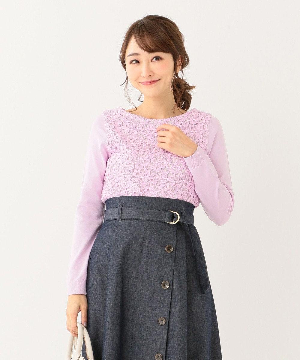 any SiS 【洗える】レースドッキングP/O ニット ライラック系