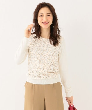 any SiS 【洗える】レースドッキングP/O ニット ホワイト系