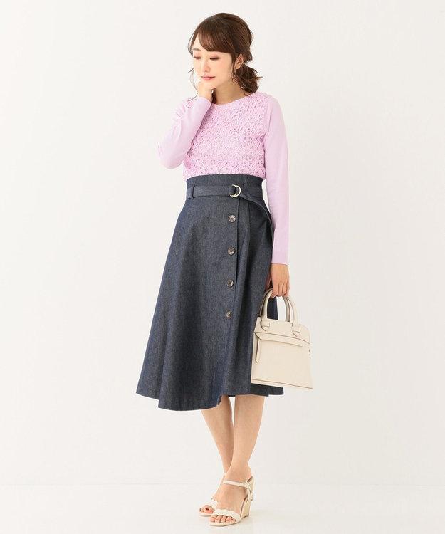 any SiS 【洗える】レースドッキングP/O ニット