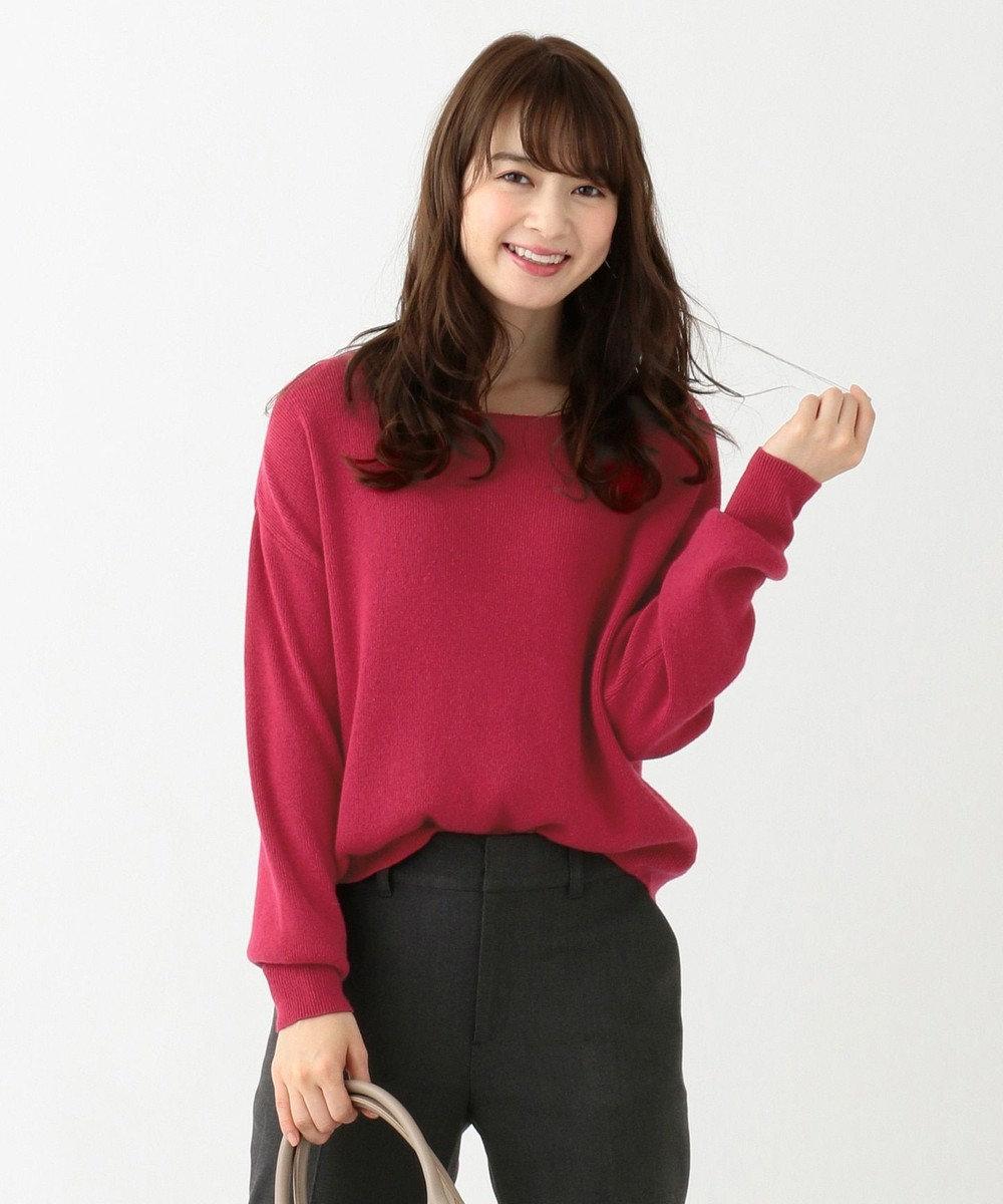 any SiS 【難波蘭さん監修】パーソナルカラー ボートネック ニット ラズベリーピンク