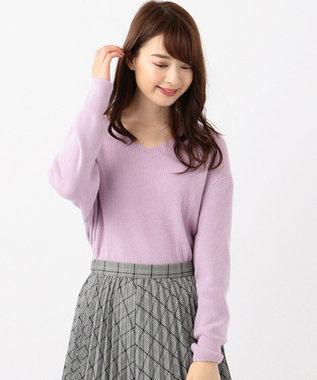 any SiS 【難波蘭さん監修】パーソナルカラー Vネック ニット スイートバイオレット