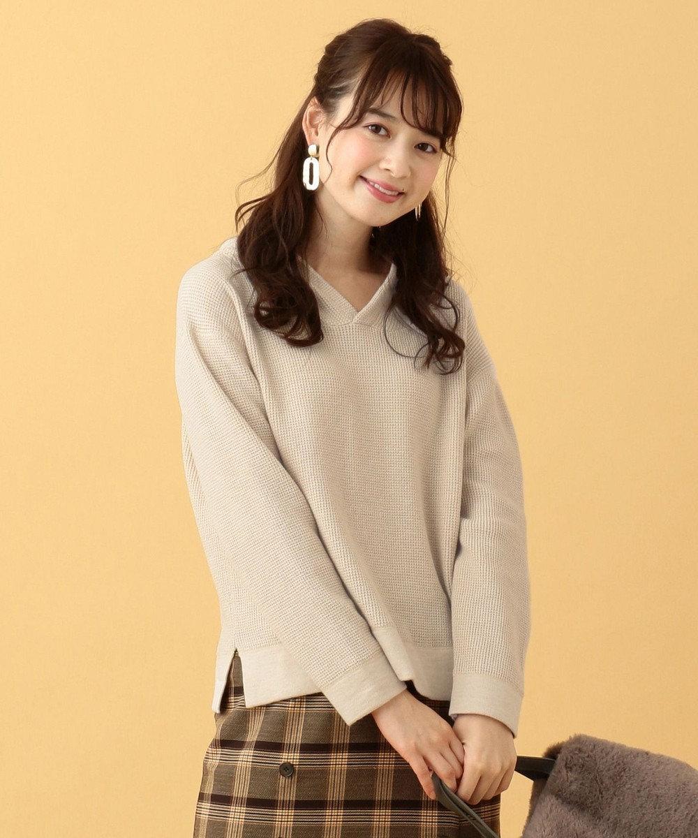 any SiS L 【洗える】ワッフル フーディ ベージュ系