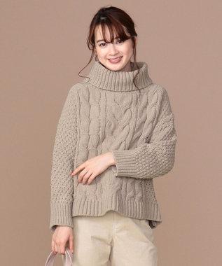 any SiS 【洗える】モールケーブル タートルニット モカグレー