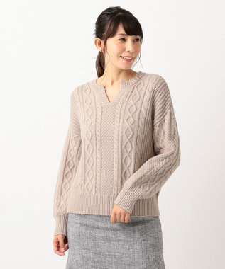 any SiS S 【洗える】キーネックケーブル ニット モカベージュ