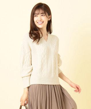 any SiS S 【洗える】キーネックケーブル ニット アイボリー
