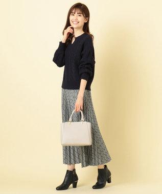 any SiS S 【洗える】キーネックケーブル ニット ネイビー